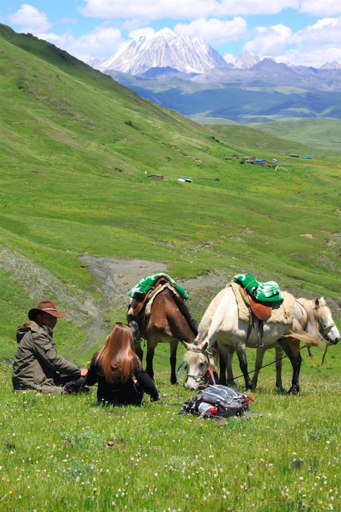 Trek à cheval 5000m d'altitude région de Tagong (tibet)