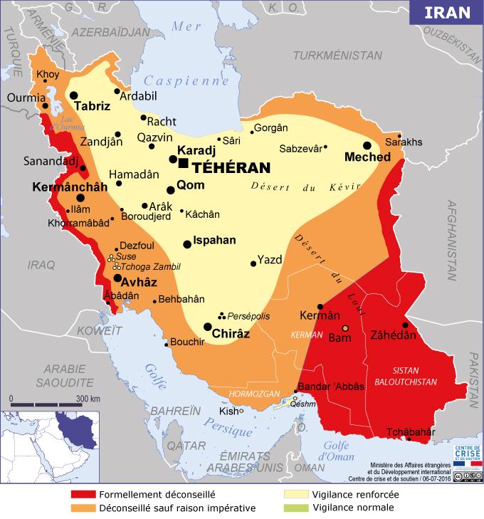 Certaines regions de l'Iran sont clairement déconseillees aux voyageurs