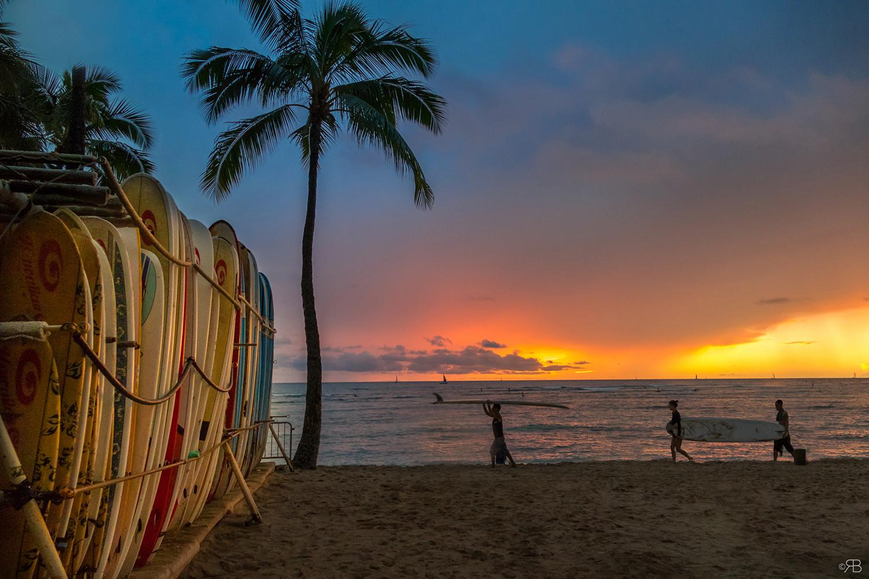 coucher de soleil a Hawai