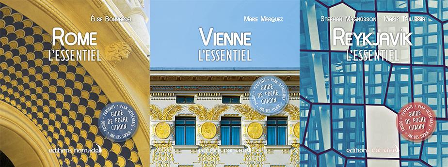 couverture des city guides Rome, Vienne et Reykjavik